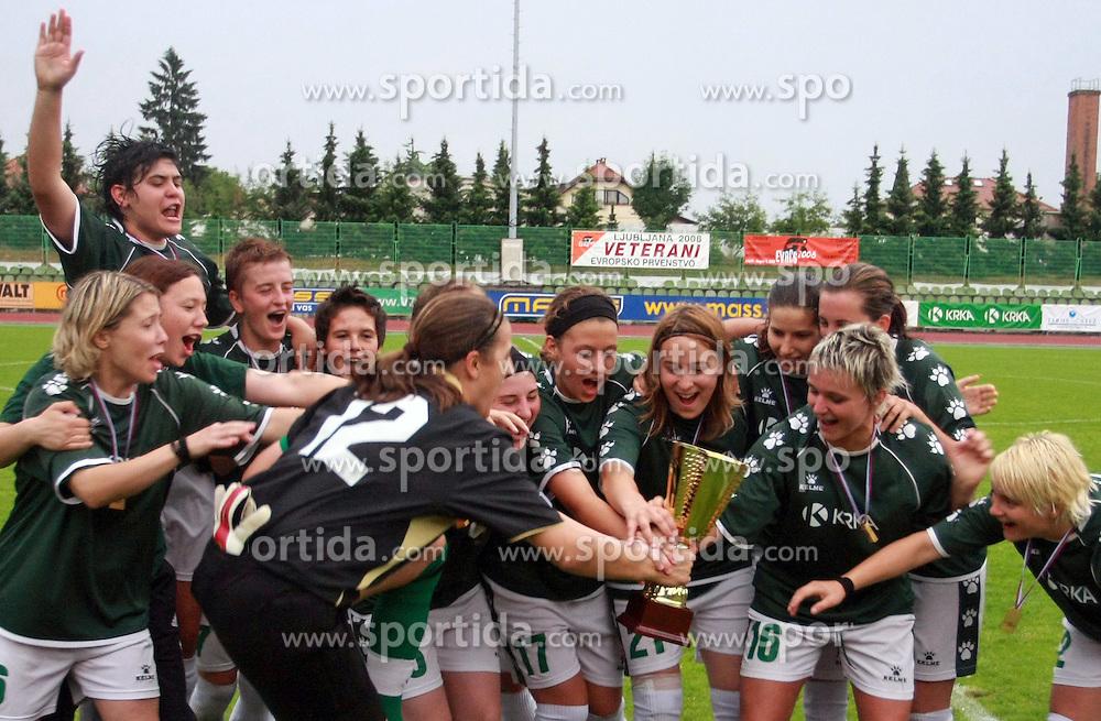 Krka celebrates at final game of Slovenian women Football cup NZS between ZNK Pomurje vs ZNK Krka, on June 4, 2008, in ZAK stadium in Ljubljana. Krka won the 3:1. (Photo by Vid Ponikvar / Sportal Images)