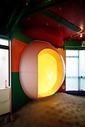 Tokyo, February 9 2010 - In Mitaka Tenmei Hanten jutaku (Reversible Destiny Lofts in Mitaka) by Japanese artist Shusaku Arakawa. The yellow office inside an apartment.