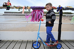 © Licensed to London News Pictures. 27/05/2013..Saltburn, England..Freddy Watson,3 , from Middlesbrough enjoys the display as once again the mysterious group of knitters in Saltburn by the Sea in Cleveland have been working their magic and have produced another amazing display of local seaside scenes created out of wool and attached to the Victorian Pier in the town...The woollen figures first appeared last year to mark the Olympics and then the royal wedding and created a storm of interest in the figures and brought many visitors into the town...Photo credit : Ian Forsyth/LNP