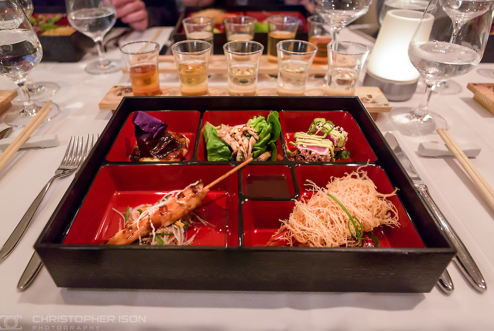 The bento box starter served in the Bamboo Restaurant on board Cunard's Queen Mary 2.<br /> Picture date: Thursday September 8, 2016.<br /> Photograph by Christopher Ison &copy;<br /> 07544044177<br /> chris@christopherison.com<br /> www.christopherison.com