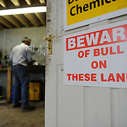 Irish farmer Enda Doran fixes some farming machenery and equipment in his workshop in Ballinasloe, Co. Galway...Mr. Doran is the eldest of 3 brothers and sisters and by tradition the heritor of the family farming land and business. His farming activities involve cereal and potato production, cattle and sheep breathing and contract work for other farmers.