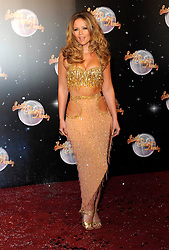 """Kimberley Walsh At The Official Unveiling Of The 2012 Strictly Come Dancing Line Up.BBC Television Centre, London, Tuesday September 11, 2012. Photo by i-Images<br /> File photo - Girls Aloud Star Kimberley Walsh Pregnant. Former Girls Aloud singer Kimberley Walsh has revealed she is expecting her first child with her boyfriend Justin Scott.<br /> <br /> The star told fans the news on Twitter, writing: """"Justin and I are so happy to let you all know we are having a baby!!! Couldn't wait to share our lovely news with you all.<br /> Photo filed Tuesday 25th Feb 2014."""