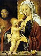The Holy Family' Joos van Cleve (c1490-1540) Netherlandish painter.  Mary supports standing infant Jesus as Joseph looks on fondly. Aquilegia used to ease pain of childbirth. Orange symbol  of love and marriage.