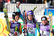 Denise KARBON (ITA) 2nd place, Tina MAZE (SLO) 1st place - winner, Kathrin HOELZL (AUT) 3rd place  at FIS alpine ski world cup, Maribor, SLO, Golden Fox trophy winner ceremony