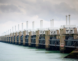 Oosterscheldedam or Eastern-Scheld flood defence barrier at Schouwen Duivenland and Northern Beveland, Zeeland, The Netherlands