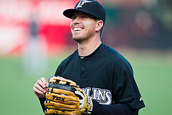 July 26, 2010; San Francisco, CA, USA;  Florida Marlins shortstop Donnie Murphy (22) before the game against the San Francisco Giants at AT&T Park.  Florida defeated San Francisco 4-3.
