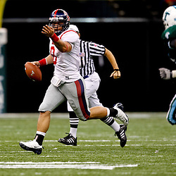 Sep 11, 2010; New Orleans, LA, USA; Mississippi Rebels quarterback Jeremiah Masoli (8) scrambles with the ball during a game against the Tulane Green Wave at the Louisiana Superdome. The Mississippi Rebels defeated the Tulane Green Wave 27-13.  Mandatory Credit: Derick E. Hingle
