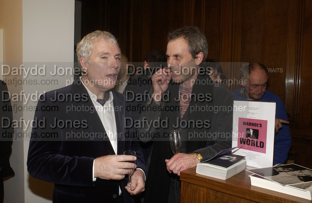 Glenn O'Brien and Steven Pollock. Warhol's World. Photography and Television. Hauser and Wirth. Piccadilly, London. 26  January 2006.  ONE TIME USE ONLY - DO NOT ARCHIVE  © Copyright Photograph by Dafydd Jones 66 Stockwell Park Rd. London SW9 0DA Tel 020 7733 0108 www.dafjones.com