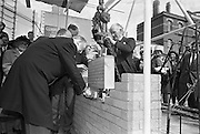 President Eamon De Valera laid the foundation stone of the new Abbey Theatre, on the site of the old theatre which burned down.<br /> 03.09.1963