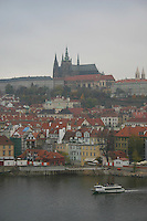 Prague Castle and River Vltava, Prague, Czech Republic<br />