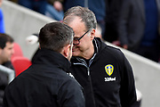 Leeds United Manager Marcelo Bielsa and Bristol City Manager Lee Johnson shake hands during the EFL Sky Bet Championship match between Bristol City and Leeds United at Ashton Gate, Bristol, England on 9 March 2019.