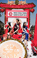 Miss China Town Queen and Court 2018 ride their float during the 119th annual Chinese New Year &quot;Golden Dragon Parade&quot; in the streets of Chinatown in Los Angeles, Feburary 17, 2018. (Photo by Ringo Chiu)<br /> <br /> Usage Notes: This content is intended for editorial use only. For other uses, additional clearances may be required.