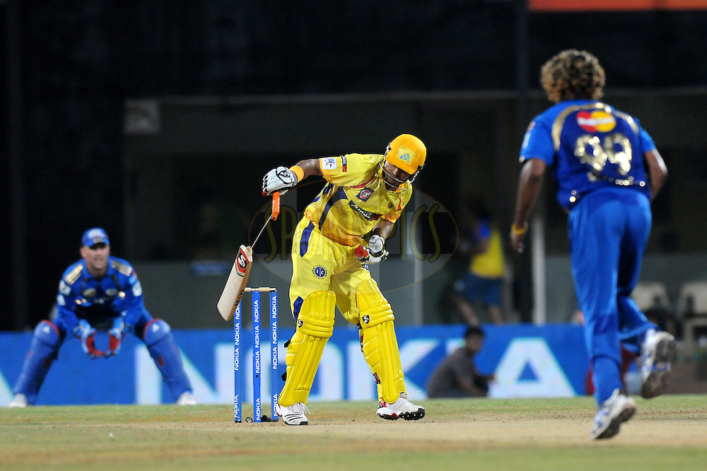 Suresh Raina of Chennai Super Kings breaks his bat while batting during match 3 of the NOKIA Champions League T20 ( CLT20 )between the Chennai Superkings and the Mumbai Indians held at the M. A. Chidambaram Stadium in Chennai , Tamil Nadu, India on the 24th September 2011..Photo by Pal Pillai/BCCI/SPORTZPICS