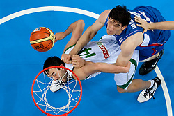 Mirza Begic of Slovenia vs Boban Marjanovic of Serbia during basketball game between National basketball teams of Slovenia and Serbia in 7th place game of FIBA Europe Eurobasket Lithuania 2011, on September 17, 2011, in Arena Zalgirio, Kaunas, Lithuania. Slovenia defeated Serbia 72 - 68 and placed 7th. (Photo by Vid Ponikvar / Sportida)