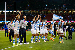 Players celebrate after Argentina win the match - Mandatory byline: Rogan Thomson/JMP - 07966 386802 - 18/10/2015 - RUGBY UNION - Millennium Stadium - Cardiff, Wales - Ireland v Argentina - Rugby World Cup 2015 Quarter Finals.