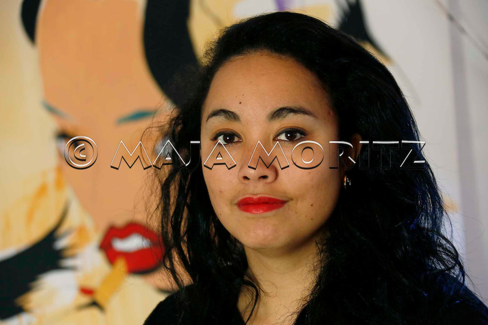"""Courtney Sina Meredith at home in Auckland, Courtney is a young New Zealand and Pacific Island poet, who is representative for a new generation of authors, her book """"Brown Girls in Bright Red Lipstick"""" is published by Beatnik, Auckland, New Zealand"""