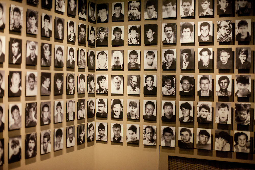 Portraits of killed and missing people at the Gallery 11/07/95 exhibition space in Sarajevo aiming to preserve the memory on Srebrenica tragedy and 8372 persons who tragically lost their lives during the genocide.
