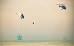 © Licensed to London News Pictures. 04/08/2019. Dover, UK. French inventor Franky Zapata heads to St Margarets Bay near Dover as he crosses the English Channel on his jet-powered hoverboard. He made the 35km crossing with a refueling stop mid channel to reach the English coast after setting off at 6:15am French time. Photo credit: Peter Macdiarmid/LNP