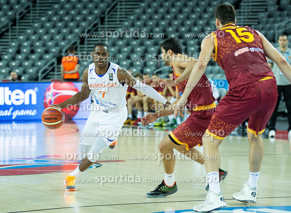 Charlon Kloof of Netherlands vs Vojdan Stojanovski of Macedonia during basketball match between Netherlands and Macedonia at Day 2 in Group C of FIBA Europe Eurobasket 2015, on September 6, 2015, in Arena Zagreb, Croatia. Photo by Vid Ponikvar / Sportida