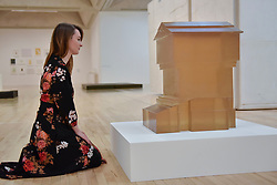 "© Licensed to London News Pictures. 11/09/2017. London, UK. A staff member views ""Untitled (Hive) II"", 2001, at the preview of an exhibition featuring works by artist Rachel Whiteread at Tate Britain.  The exhibition spans her career over three decades and runs 12 September to 21 January 2018.   Photo credit : Stephen Chung/LNP"