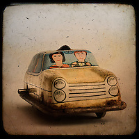 An old tin toy car