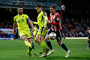 Notts County defender Richard Duffy (5) comes across the back line to clear the ball from danger during the The FA Cup 3rd round match between Brentford and Notts County at Griffin Park, London, England on 6 January 2018. Photo by Andy Walter.