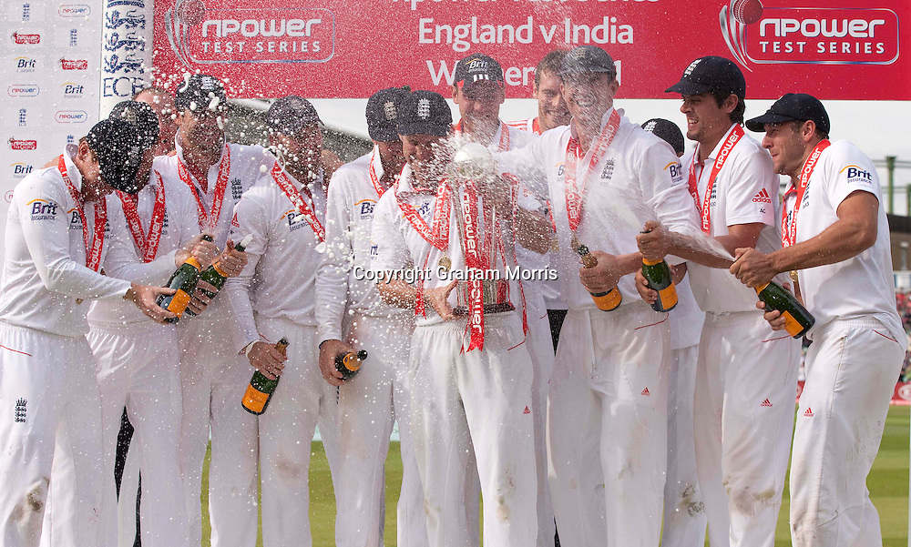 England captain Andrew Strauss holds the npower trophy after beating India 4-0 at the Oval, London.  Photo: Graham Morris (Tel: +44(0)20 8969 4192 Email: sales@cricketpix.com) 22/08/11
