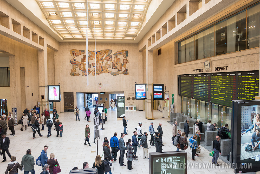 The main concourse inside Gare Centrale (Central Station) in Brussels, Belgium.
