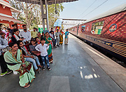 India, Uttar Pradesh. Fatehpur Sikri station. Maharajas' Express luxury train.