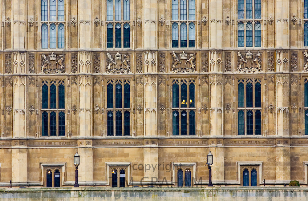Windows of Houses of Parliament, Palace of Westminster, United Kingdom