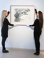Gallery assistants hang David Hockney's &quot;Kilham to Rudston&quot;, charcoal on paper from 2008 at the preview for the It&rsquo;s Our World charity auction at Christie's, Mayfair, London.<br /> Picture by Paul Davey/Focus Images Ltd +447966 016296<br /> 04/03/2016