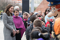 © Licensed to London News Pictures . 06/12/2017 . Manchester , UK . KATE MIDDLETON meets children at the start of the visit . The Duke And Duchess Of Cambridge, Prince William and Kate Middleton, attend the Children's Global Media Summit at the Manchester Central Convention Centre . Photo credit : Joel Goodman/LNP