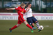 Preston Midfielder Jenna Carroll challenged during the FA Women's Lancashire Cup Final match between Preston North End Ladies and Blackburn Rovers Women at the County Ground, Leyland, United Kingdom on 28 April 2016. Photo by Pete Burns.