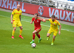 CARDIFF, WALES - Friday, June 5, 2015: Wales' Gareth Bale and Adam Matthews during a practice match at the Cardiff City Stadium ahead of the UEFA Euro 2016 Qualifying Round Group B match against Belgium. (Pic by David Rawcliffe/Propaganda)
