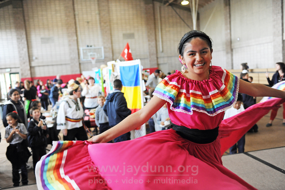 Seventh-grader Sofia Roa, 13, dances during Sacred Heart School's first annual Diversity Day on Thursday, May 5th in Salinas.