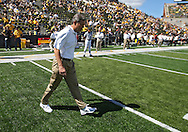 September 11 2010: Iowa head coach Kirk Ferentz walks onto the field before the start of the NCAA football game between the Iowa State Cyclones and the Iowa Hawkeyes at Kinnick Stadium in Iowa City, Iowa on Saturday September 11, 2010. Iowa defeated Iowa State 35-7.