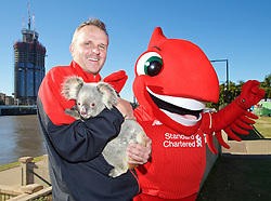 BRISBANE, AUSTRALIA - Friday, July 17, 2015: Liverpool's Dieter Hamann with Amber the koala bear and Mighty Red at South Bank in Brisbane on day five of the club's preseason tour. (Pic by David Rawcliffe/Propaganda)