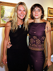 Left to right, the HON.MRS PERTWEE daughter of Lord Colwyn, married to Sean Pertwee, and actress LIZA WALKER, at an exhibition in London on 24th August 1999.MUR 20
