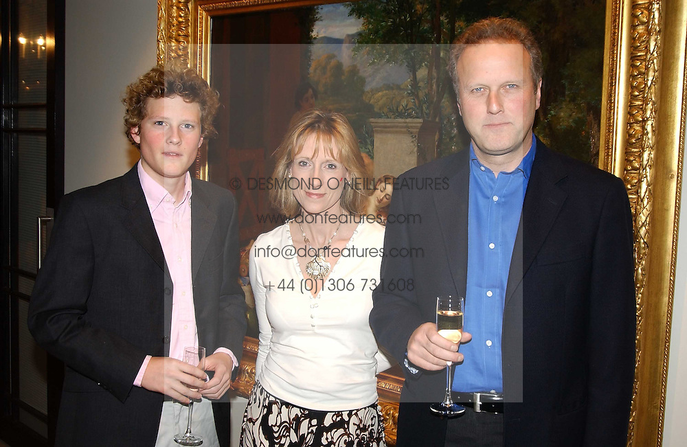 MARCUS MARLAND and his parents MR & MRS JONATHAN MARLAND, he is chairman of the Treasurers of the Conservative Party at a fundraising evening for the Conservative Party General Election Campaign Fund held at Bonhams, 101 New Bond Street, London W1 on 17th March 2005.<br />