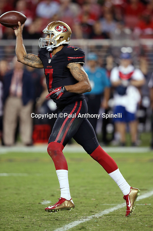 San Francisco 49ers quarterback Colin Kaepernick (7) throws a pass during the 2015 NFL week 1 regular season football game against the Minnesota Vikings on Monday, Sept. 14, 2015 in Santa Clara, Calif. The 49ers won the game 20-3. (©Paul Anthony Spinelli)