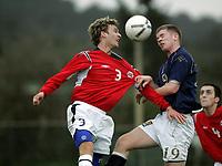 Fotball / Football<br /> International U 19 Team Tournament<br /> Norge v Skottland 1-2<br /> Norway v Scotland 1-2 at La Manga - Spain<br /> 08.02.2007<br /> Foto: Morten Olsen, Digitalsport<br /> <br /> Håkon Skogseid - Stabæk / Norway <br /> Alan Lithgow - Hearts / Scotland