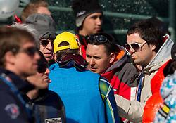 Mitja Valencic and Martin Pavcnik during 2nd Run of Men's Slalom of FIS Ski World Cup Alpine Kranjska Gora, on March 6, 2011 in Vitranc/Podkoren, Kranjska Gora, Slovenia.  (Photo By Vid Ponikvar / Sportida.com)