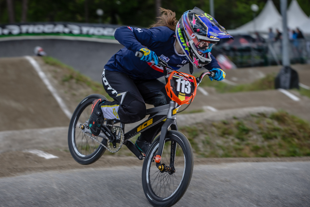 #113 (BERNARD Mathilde) FRA during round 3 of the 2017 UCI BMX  Supercross World Cup in Zolder, Belgium,