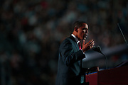 Presidential candidate Senator Barack Obama (D) speaks at the Demorcratic Convention in Denver.
