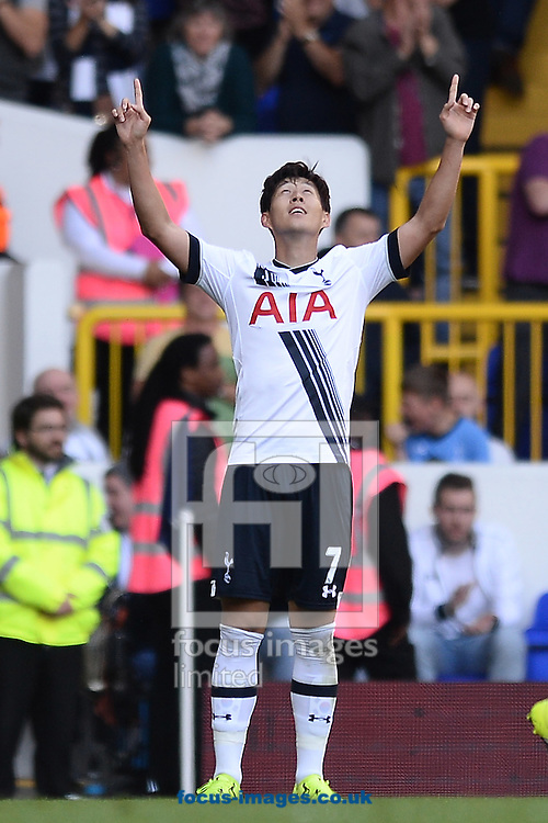 Son Heung-Min of Tottenham Hotspur celebrates scoring his sides first goal to make the scoreline 1-0 during the Barclays Premier League match between Tottenham Hotspur and Crystal Palace at White Hart Lane, London<br /> Picture by Richard Blaxall/Focus Images Ltd +44 7853 364624<br /> 20/09/2015