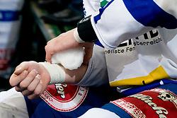 Mario Altmann (EC Rekord-Fenster VSV, #41) cooling off hand with ice during ice-hockey match between HDD Tilia Olimpija and EC Rekord-Fenster VSV in 31st Round of EBEL league, on December 28, 2010 at Hala Tivoli, Ljubljana, Slovenia. (Photo By Matic Klansek Velej / Sportida.com)
