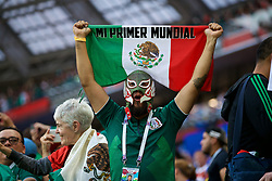 MOSCOW, RUSSIA - Sunday, June 17, 2018: A Mexico supporter wearing a Lucha Libre mask celebrates after beating Germany 1-0 during the FIFA World Cup Russia 2018 Group F match between Germany and Mexico at the Luzhniki Stadium. (Pic by David Rawcliffe/Propaganda)