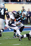 Carolina Panthers quarterback Cam Newton (1) gets strip sacked by Denver Broncos outside linebacker Von Miller (58) causing a fumble that gets recovered in the end zone by Denver Broncos defensive end Malik Jackson (97) for a touchdown good for a 10-0 Broncos lead during the NFL Super Bowl 50 football game against the Denver Broncos on Sunday, Feb. 7, 2016 in Santa Clara, Calif. The Broncos won the game 24-10. (©Paul Anthony Spinelli)