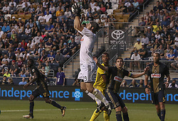 July 26, 2017 - Chester, PA, United States of America - Philadelphia Union Keeper JOHN MCCARTHY (23) makes a jumps save in the second half of a Major League Soccer match between the Philadelphia Union and Columbus Crew SC Wednesday, July. 26, 2017, at Talen Energy Stadium in Chester, PA. (Credit Image: © Saquan Stimpson via ZUMA Wire)