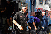 Ederson Moraes (31) of Manchester City  gets off the team bus on arrival to the Vitality Stadium ahead of the Premier League match between Bournemouth and Manchester City at the Vitality Stadium, Bournemouth, England on 25 August 2019.